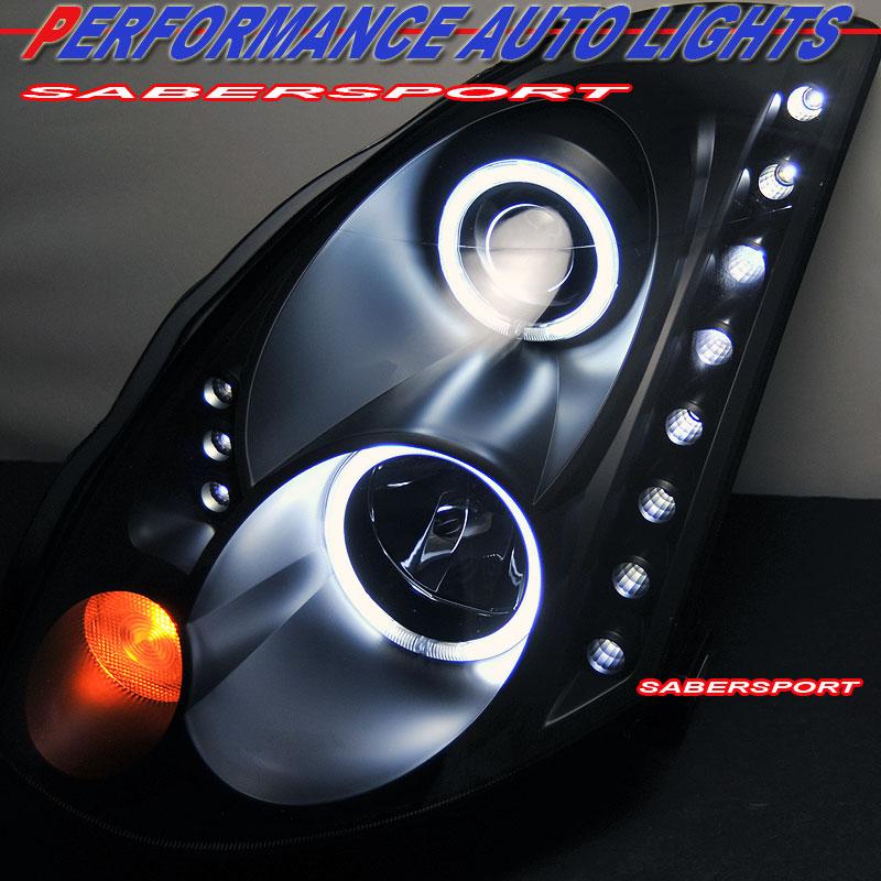 Aftermarket Black Halo Projector Headlights