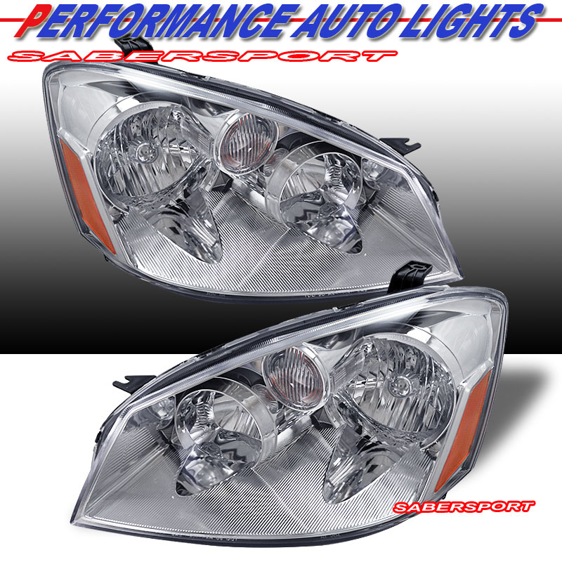 Headlights For 2006 Nissan Altima: PAIR CHROME HOUSING HEADLIGHTS HALOGEN TYPE FOR 2005-2006
