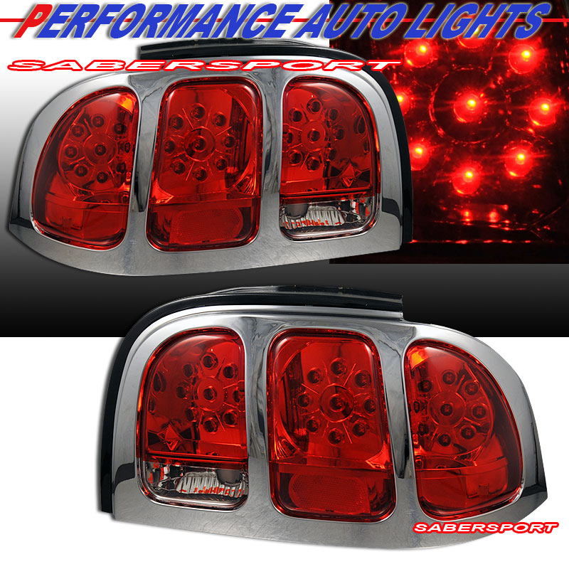 mustang l e d tail lights red lens chrome trim pair 96 97 98. Black Bedroom Furniture Sets. Home Design Ideas
