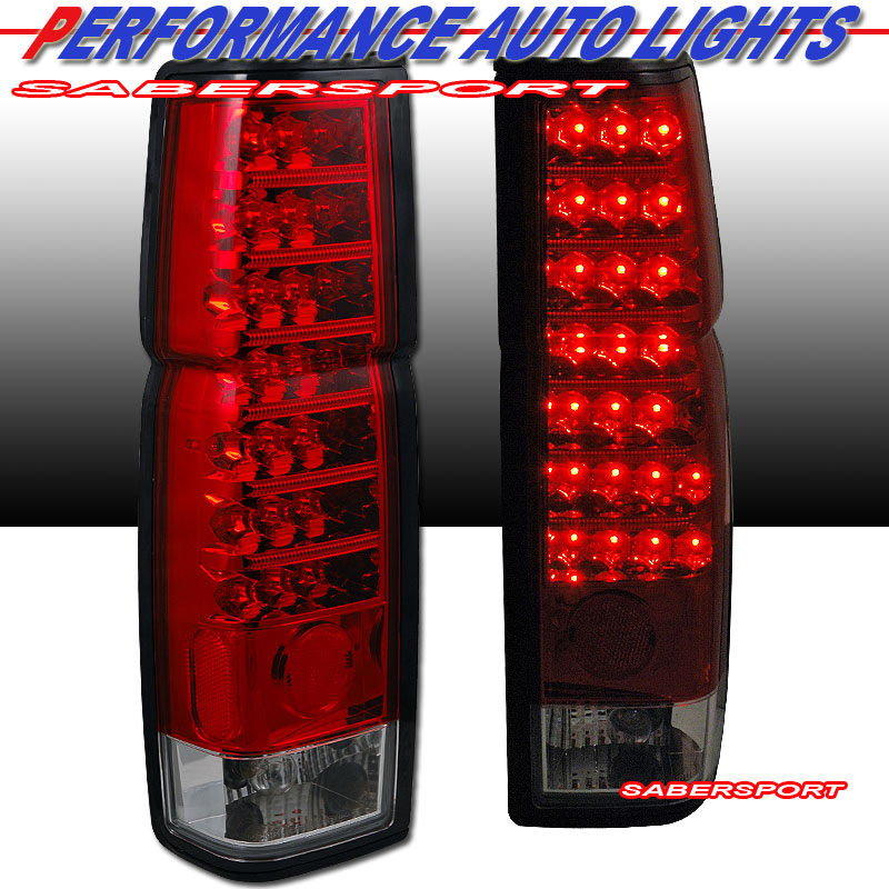 Pair Red Clear Quot L E D Quot Type Led Tail Lights For 86 97