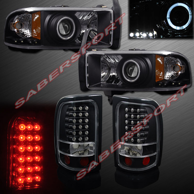 94 01 Dodge RAM Pickup Halo Projector Headlights Black w LED LED Tail
