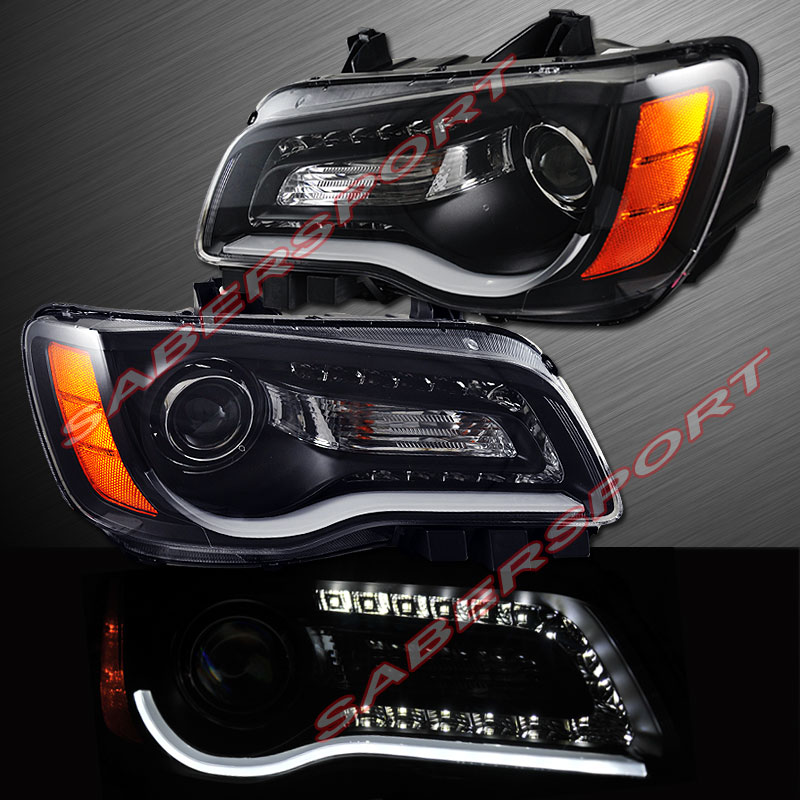 2011 2014 chrysler 300 halogen type headlights black w. Black Bedroom Furniture Sets. Home Design Ideas