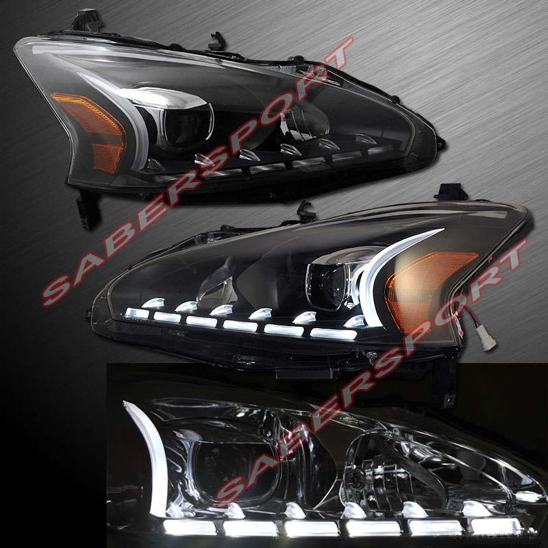 Pair Plank Style Projector Headlights Black For 2013 2015